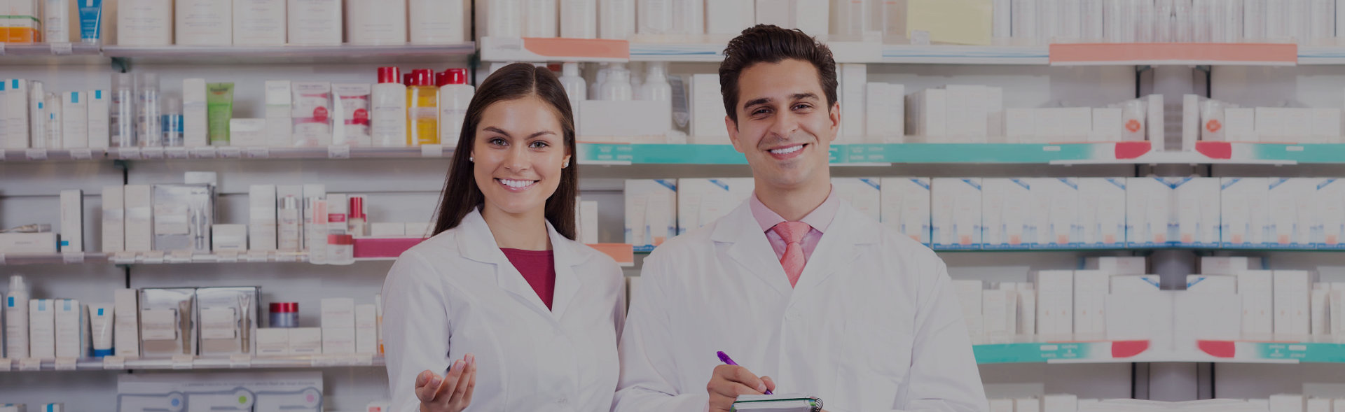 Male and female pharmacist